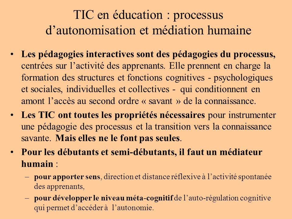 TIC en éducation : processus dautonomisation et médiation humaine Les pédagogies interactives sont des pédagogies du processus, centrées sur lactivité