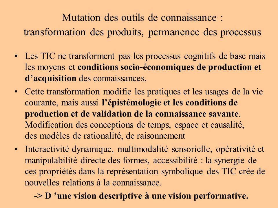 Mutation des outils de connaissance : transformation des produits, permanence des processus Les TIC ne transforment pas les processus cognitifs de base mais les moyens et conditions socio-économiques de production et dacquisition des connaissances.