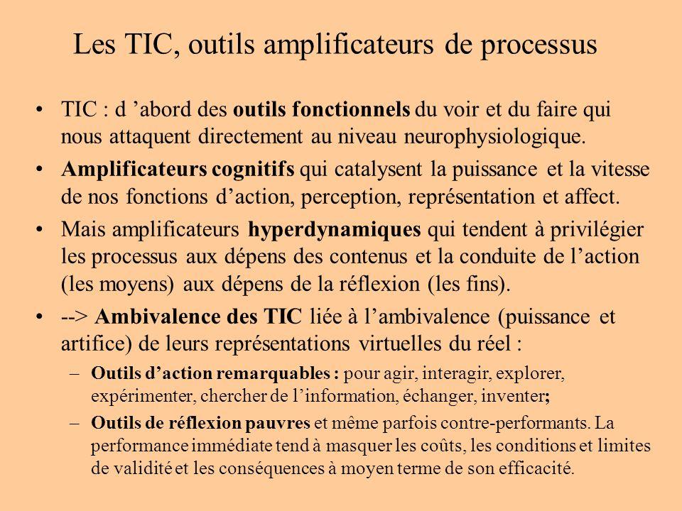 Les TIC, outils amplificateurs de processus TIC : d abord des outils fonctionnels du voir et du faire qui nous attaquent directement au niveau neurophysiologique.