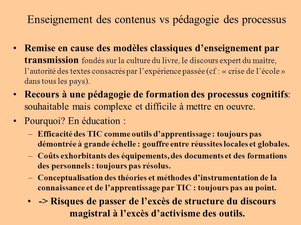 Enseignement des contenus vs pédagogie des processus Remise en cause des modèles classiques denseignement par transmission fondés sur la culture du li
