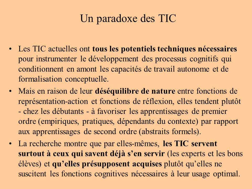 Un paradoxe des TIC Les TIC actuelles ont tous les potentiels techniques nécessaires pour instrumenter le développement des processus cognitifs qui co