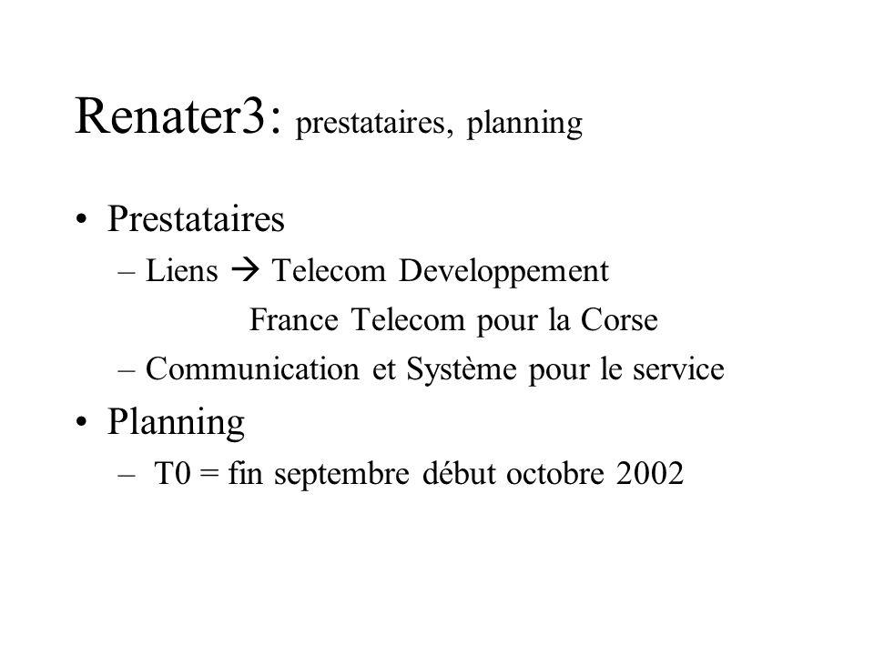 Renater3: prestataires, planning Prestataires –Liens Telecom Developpement France Telecom pour la Corse –Communication et Système pour le service Plan