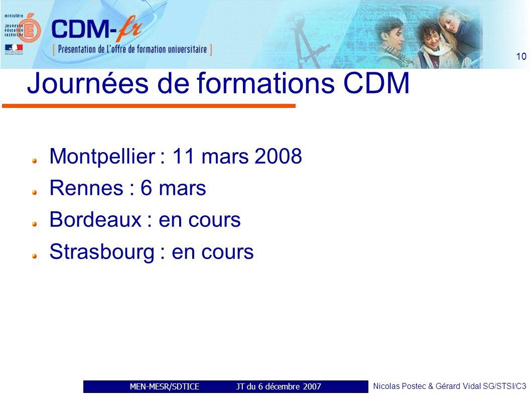 MEN-MESR/SDTICE JT du 6 décembre 2007 Nicolas Postec & Gérard Vidal SG/STSI/C3 10 Journées de formations CDM Montpellier : 11 mars 2008 Rennes : 6 mars Bordeaux : en cours Strasbourg : en cours