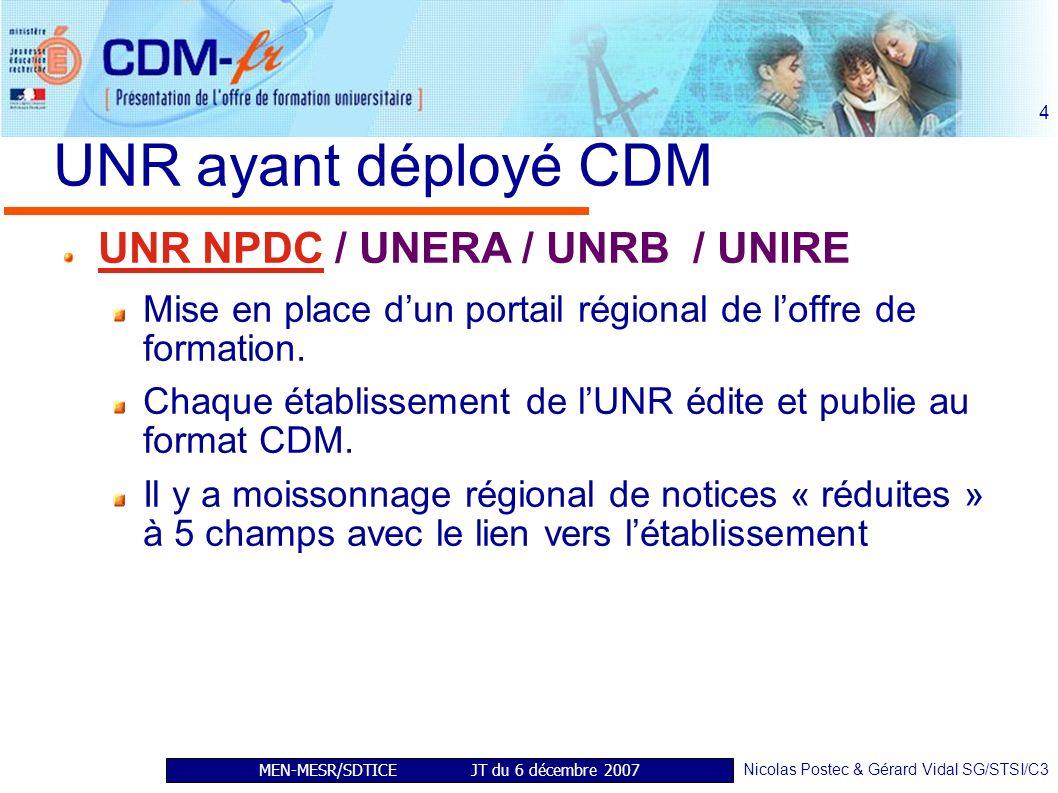 MEN-MESR/SDTICE JT du 6 décembre 2007 Nicolas Postec & Gérard Vidal SG/STSI/C3 4 UNR ayant déployé CDM UNR NPDC / UNERA / UNRB / UNIRE Mise en place dun portail régional de loffre de formation.