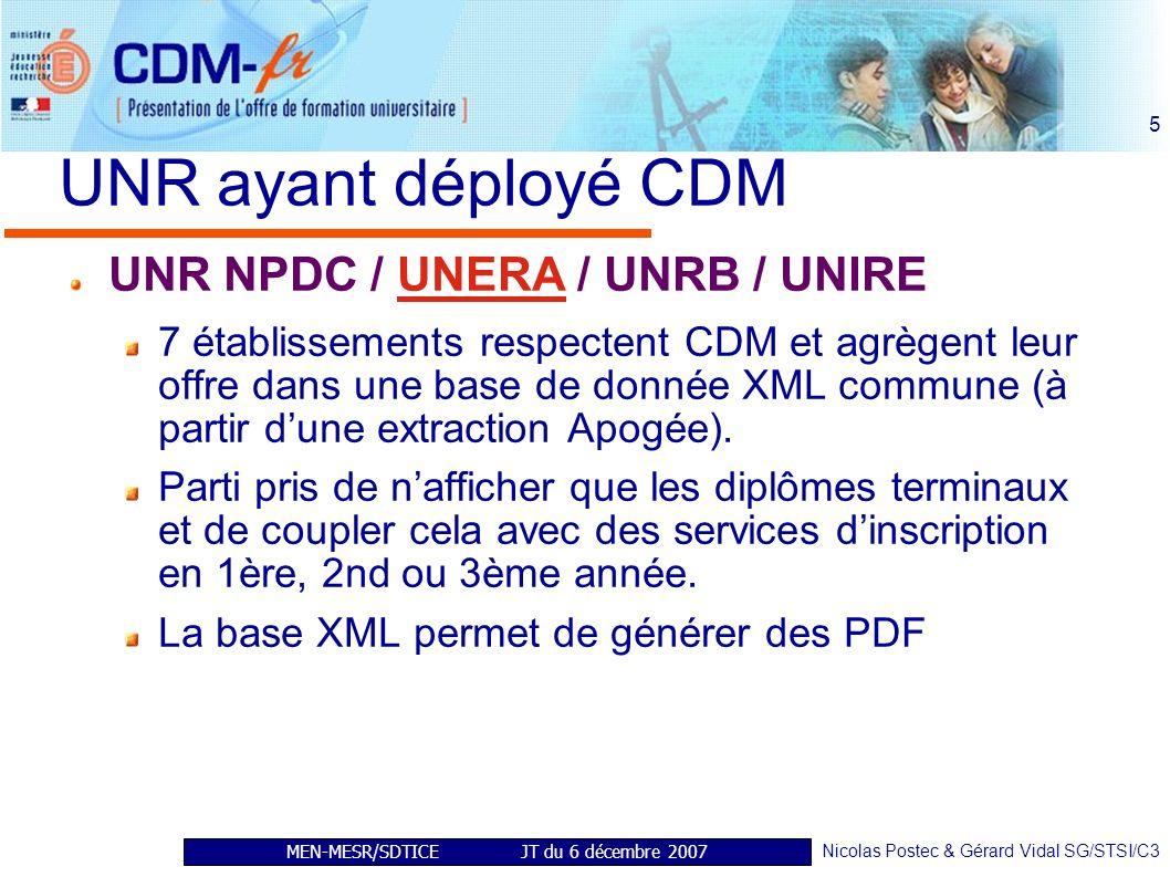 MEN-MESR/SDTICE JT du 6 décembre 2007 Nicolas Postec & Gérard Vidal SG/STSI/C3 5 UNR ayant déployé CDM UNR NPDC / UNERA / UNRB / UNIRE 7 établissements respectent CDM et agrègent leur offre dans une base de donnée XML commune (à partir dune extraction Apogée).