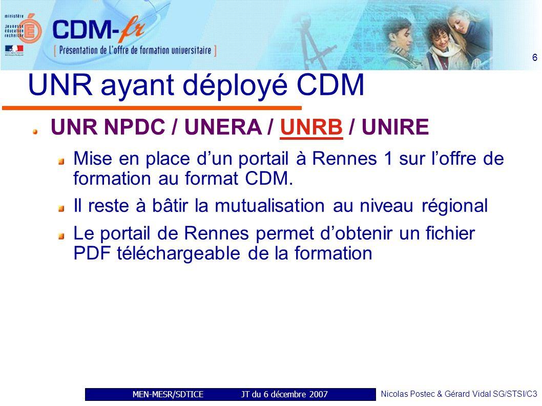 MEN-MESR/SDTICE JT du 6 décembre 2007 Nicolas Postec & Gérard Vidal SG/STSI/C3 6 UNR ayant déployé CDM UNR NPDC / UNERA / UNRB / UNIRE Mise en place dun portail à Rennes 1 sur loffre de formation au format CDM.