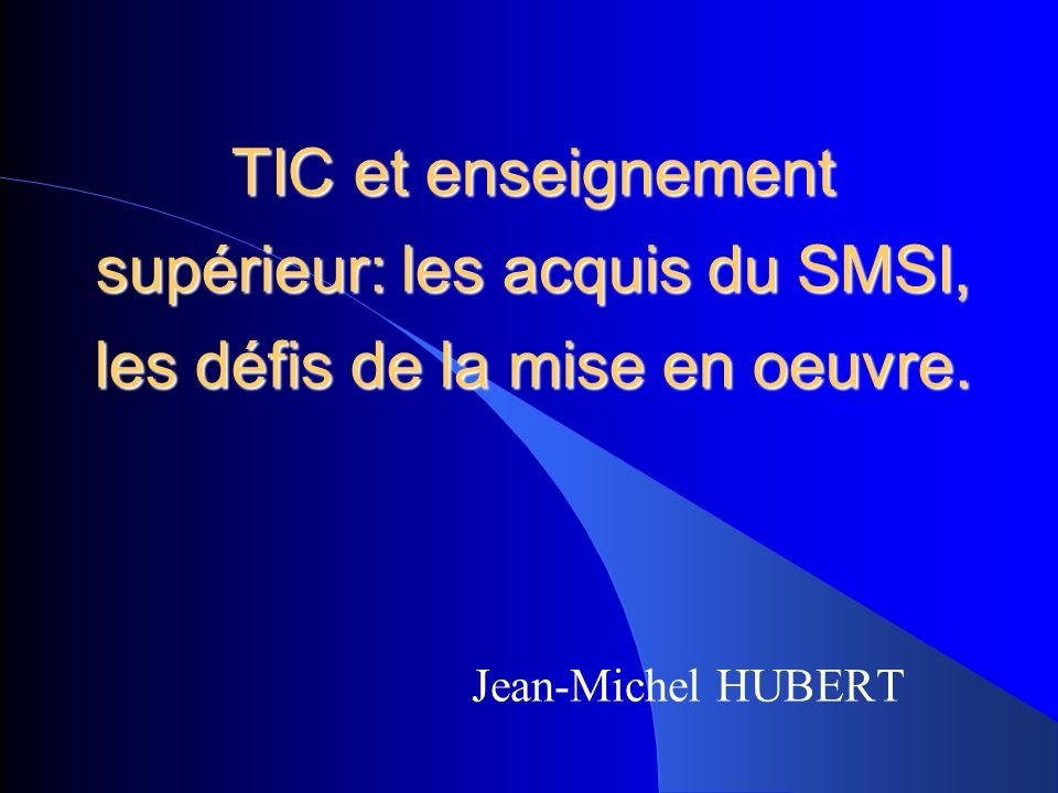 Les engagements du SMSI (1) Genève 2003: première phase du SMSI Déclaration de principe (texte politique) Plan daction de Genève (objectifs opérationnels) Tunis 2005: deuxième phase du SMSI Engagement de Tunis (texte politique) Agenda de Tunis (réaffirmation des objectifs et procédures de mise en œuvre)