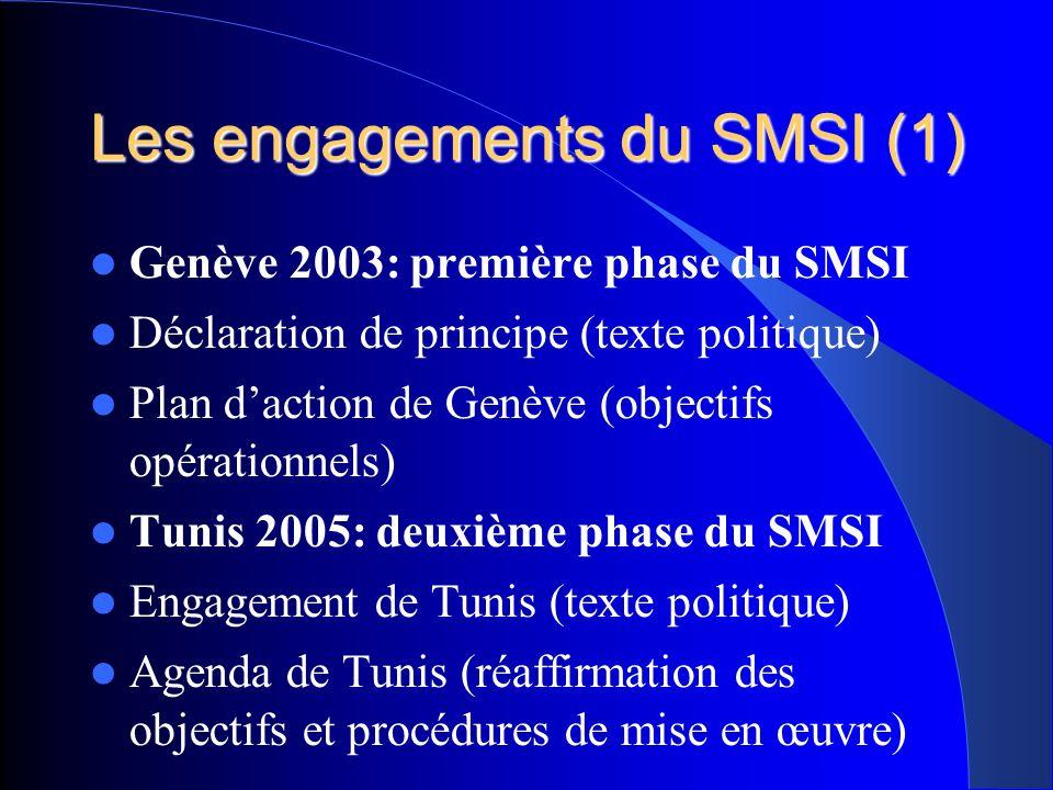 Les engagements du SMSI(2) « L enjeu consiste pour nous à tirer parti des possibilités quoffrent les technologies de l information et de la communication (TIC) en faveur des objectifs de développement énoncés dans la Déclaration du Millénaire » Article 2 déclaration de principe.