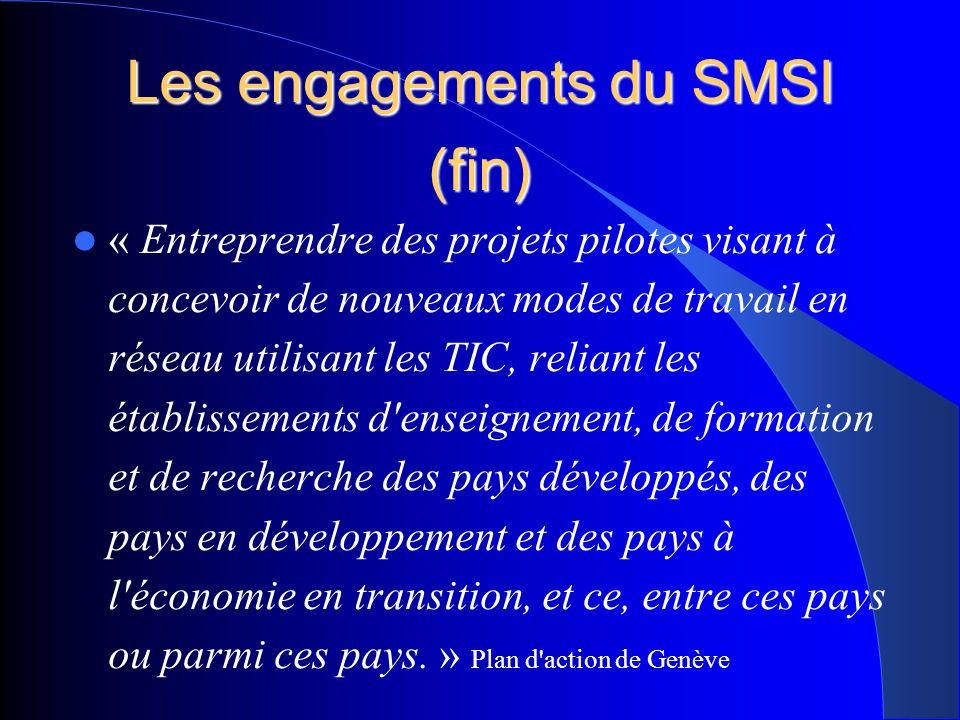 Les engagements du SMSI (fin) « Entreprendre des projets pilotes visant à concevoir de nouveaux modes de travail en réseau utilisant les TIC, reliant les établissements d enseignement, de formation et de recherche des pays développés, des pays en développement et des pays à l économie en transition, et ce, entre ces pays ou parmi ces pays.