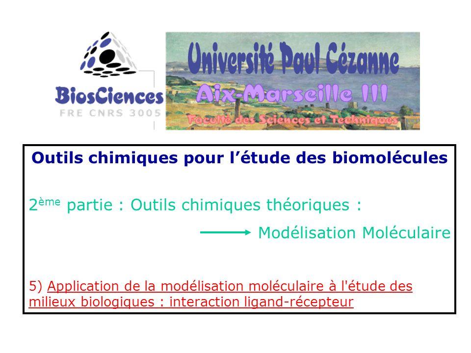 Outils chimiques pour létude des biomolécules 2 ème partie : Outils chimiques théoriques : Modélisation Moléculaire 5) Application de la modélisation