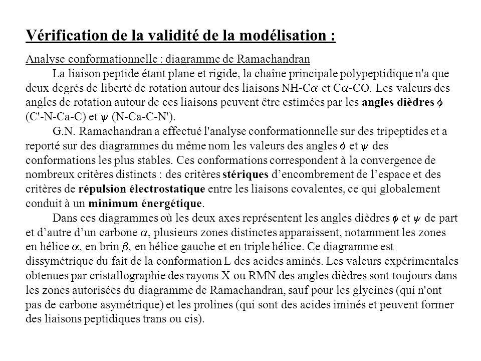 Vérification de la validité de la modélisation : Analyse conformationnelle : diagramme de Ramachandran La liaison peptide étant plane et rigide, la ch