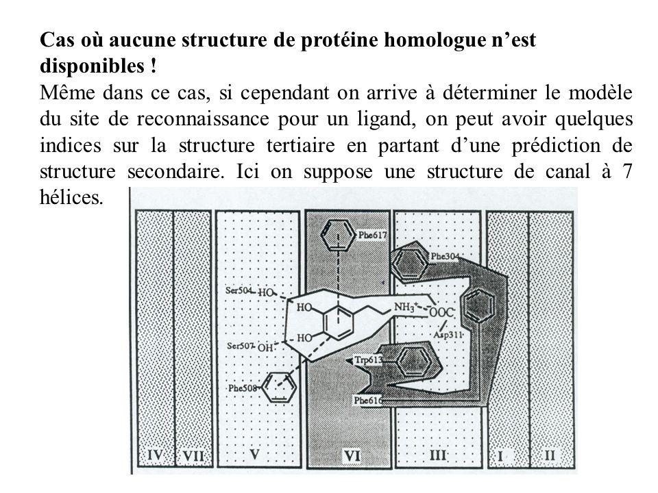 Cas où aucune structure de protéine homologue nest disponibles ! Même dans ce cas, si cependant on arrive à déterminer le modèle du site de reconnaiss