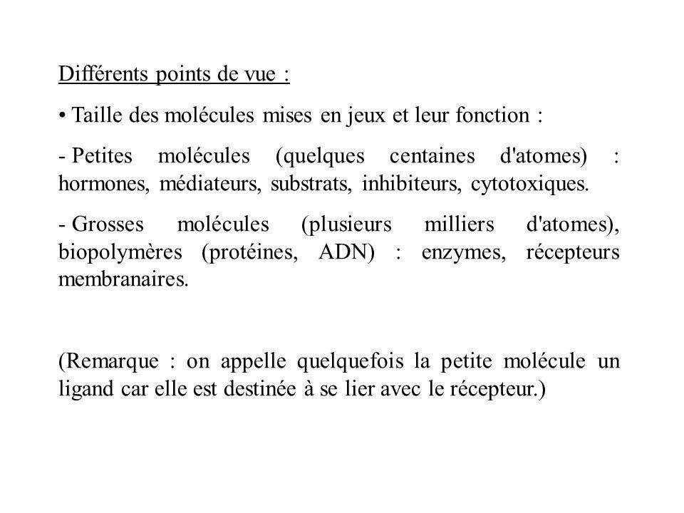 Différents points de vue : Taille des molécules mises en jeux et leur fonction : - Petites molécules (quelques centaines d'atomes) : hormones, médiate