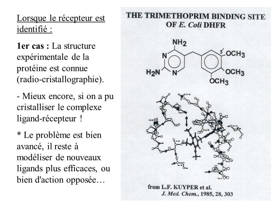 Lorsque le récepteur est identifié : 1er cas : La structure expérimentale de la protéine est connue (radio-cristallographie). - Mieux encore, si on a