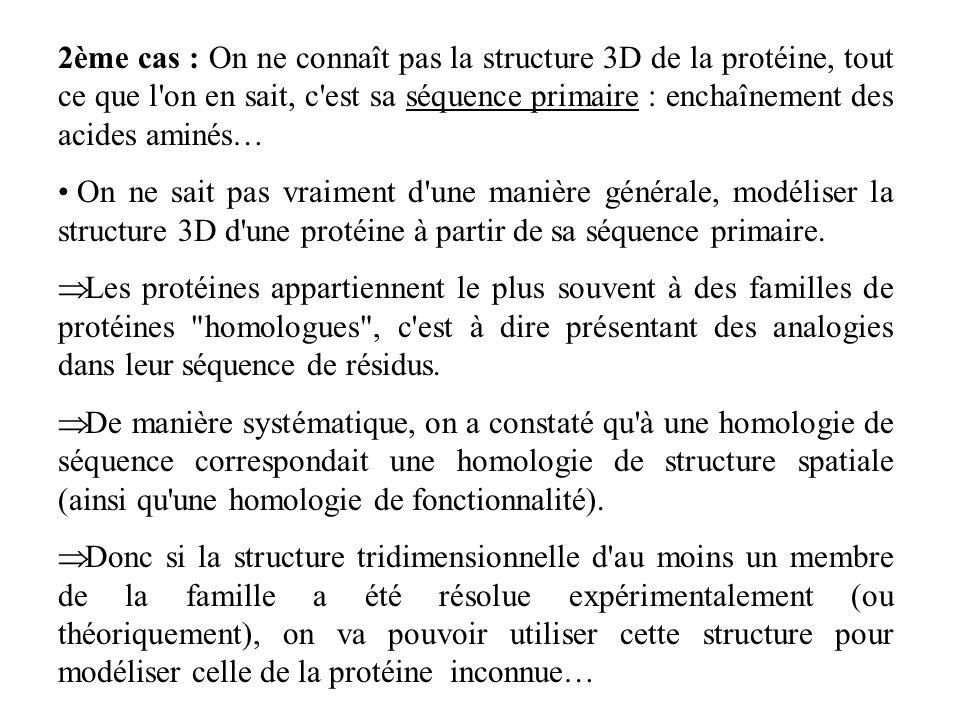 2ème cas : On ne connaît pas la structure 3D de la protéine, tout ce que l'on en sait, c'est sa séquence primaire : enchaînement des acides aminés… On