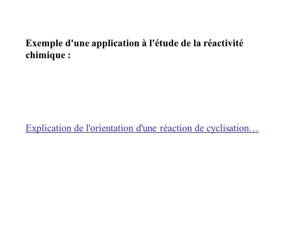 Exemple d une application à l étude de la réactivité chimique : Explication de l orientation d une réaction de cyclisation…