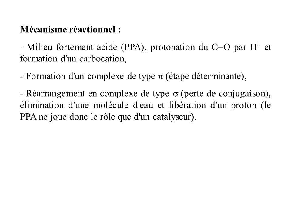 Mécanisme réactionnel : - Milieu fortement acide (PPA), protonation du C=O par H + et formation d un carbocation, - Formation d un complexe de type (étape déterminante), - Réarrangement en complexe de type (perte de conjugaison), élimination d une molécule d eau et libération d un proton (le PPA ne joue donc le rôle que d un catalyseur).