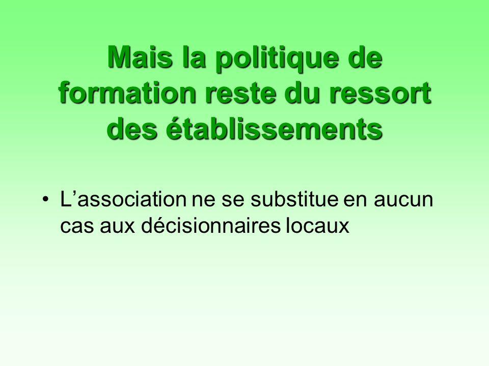 Mais la politique de formation reste du ressort des établissements Lassociation ne se substitue en aucun cas aux décisionnaires locaux