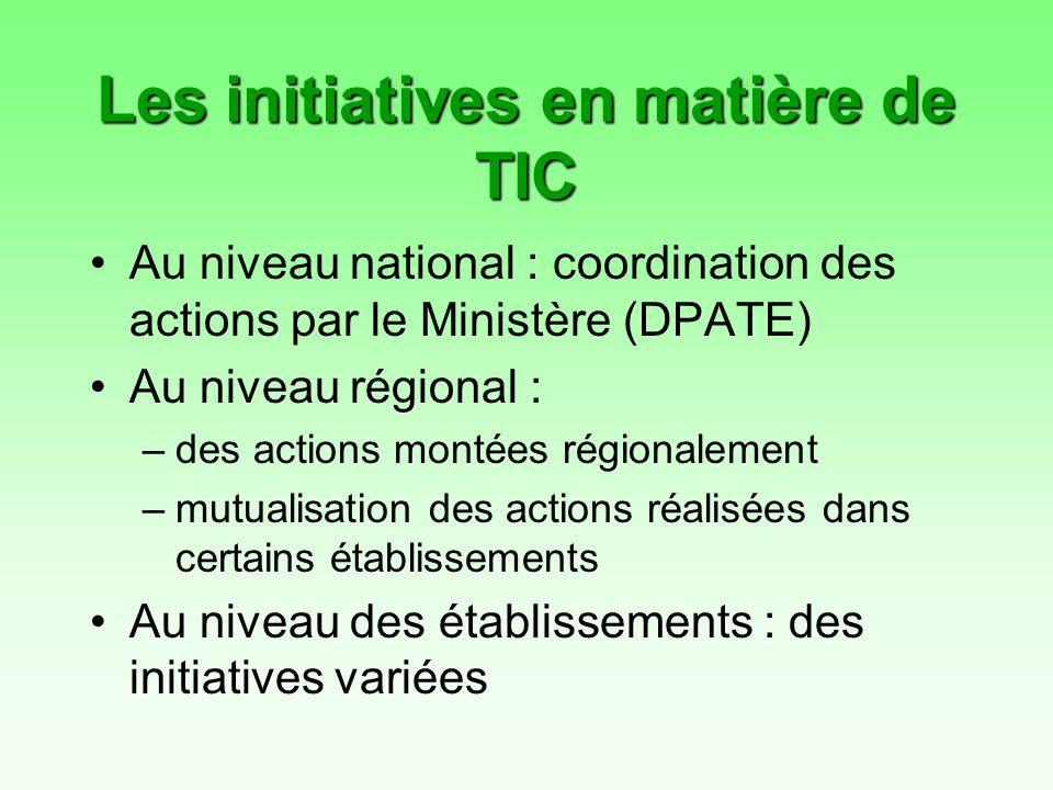 Les initiatives en matière de TIC Au niveau national : coordination des actions par le Ministère (DPATE) Au niveau régional : –des actions montées régionalement –mutualisation des actions réalisées dans certains établissements Au niveau des établissements : des initiatives variées