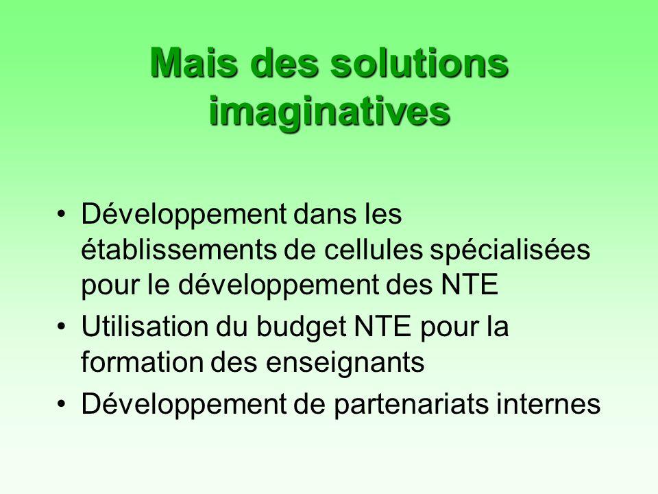 Mais des solutions imaginatives Développement dans les établissements de cellules spécialisées pour le développement des NTE Utilisation du budget NTE pour la formation des enseignants Développement de partenariats internes
