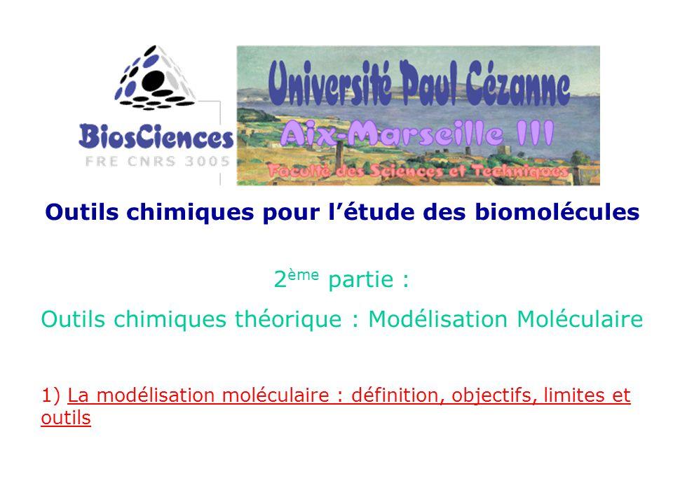 Outils chimiques pour létude des biomolécules 2 ème partie : Outils chimiques théorique : Modélisation Moléculaire 1) La modélisation moléculaire : dé