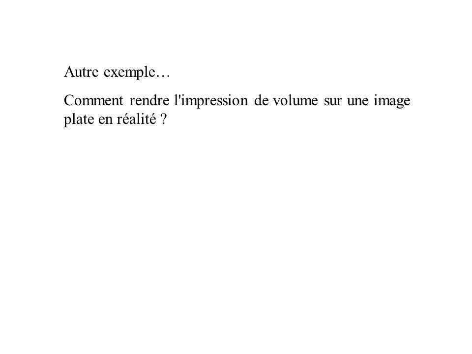 Autre exemple… Comment rendre l'impression de volume sur une image plate en réalité ?