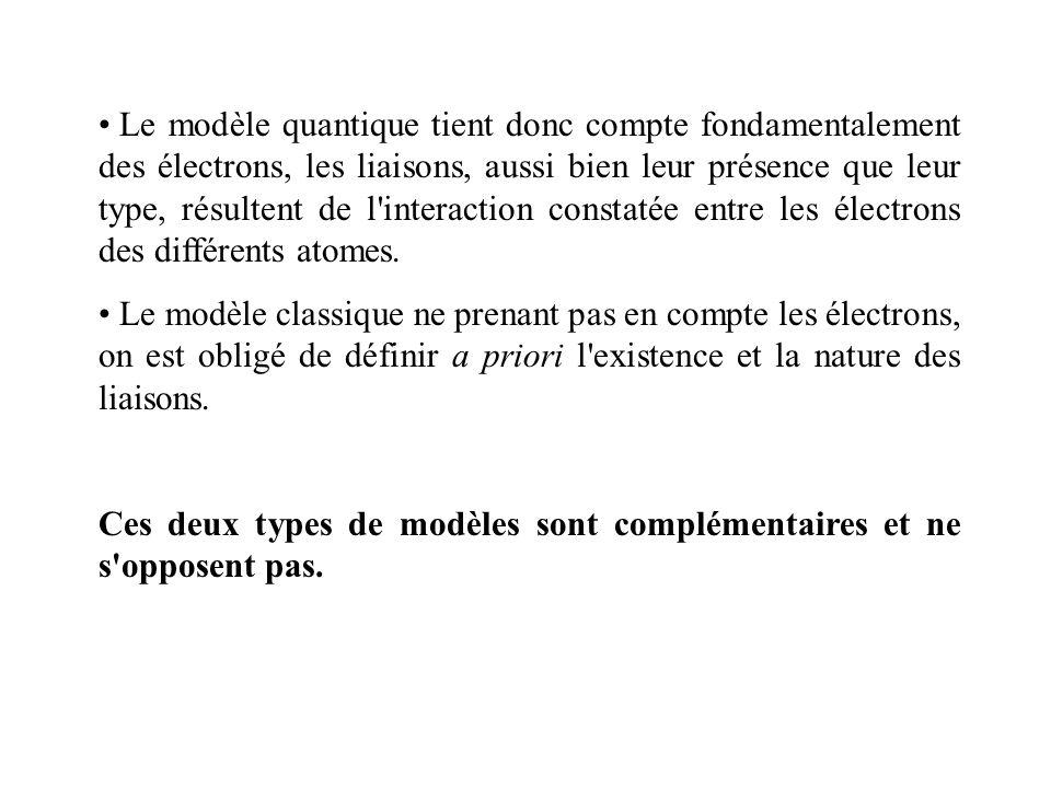 Le modèle quantique tient donc compte fondamentalement des électrons, les liaisons, aussi bien leur présence que leur type, résultent de l'interaction