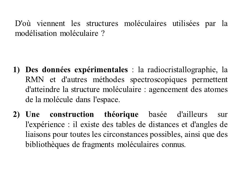 1)Des données expérimentales : la radiocristallographie, la RMN et d'autres méthodes spectroscopiques permettent d'atteindre la structure moléculaire