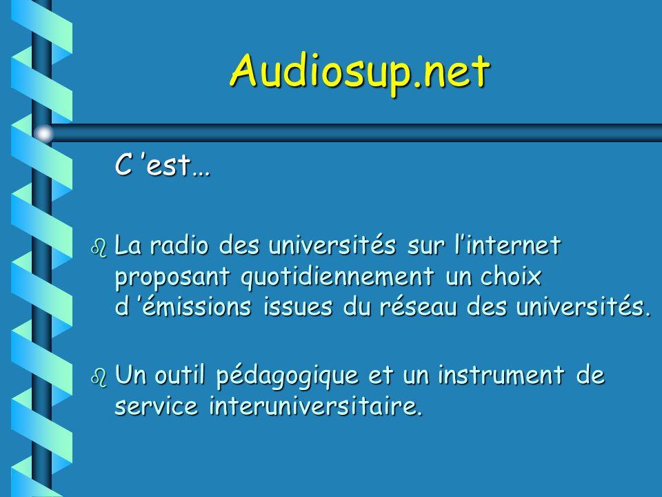 Audiosup.net C est… C est… b La radio des universités sur linternet proposant quotidiennement un choix d émissions issues du réseau des universités. b