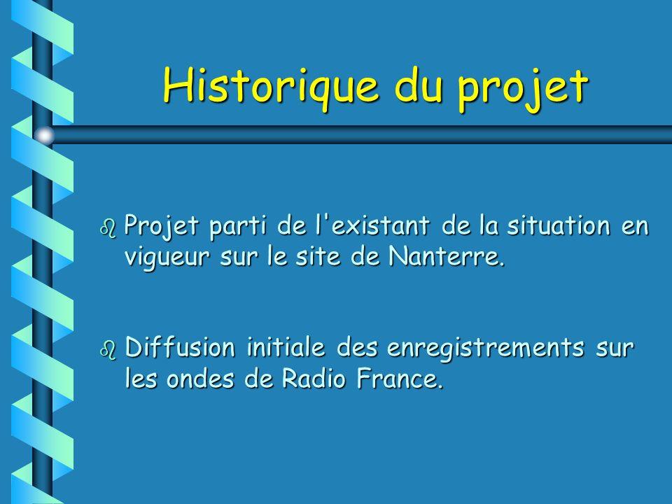 Historique du projet b Projet parti de l'existant de la situation en vigueur sur le site de Nanterre. b Diffusion initiale des enregistrements sur les