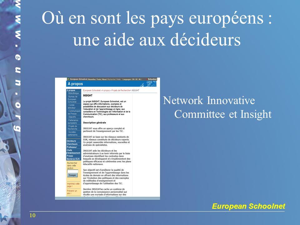 European Schoolnet 10 Où en sont les pays européens : une aide aux décideurs Network Innovative Committee et Insight