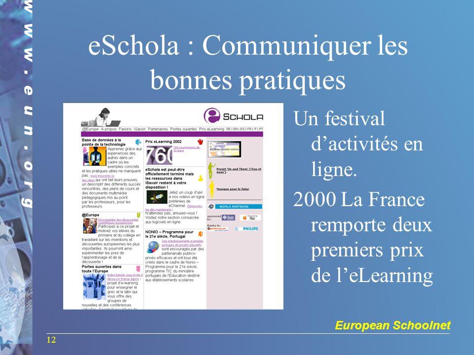 European Schoolnet 12 eSchola : Communiquer les bonnes pratiques Un festival dactivités en ligne. 2000 La France remporte deux premiers prix de leLear