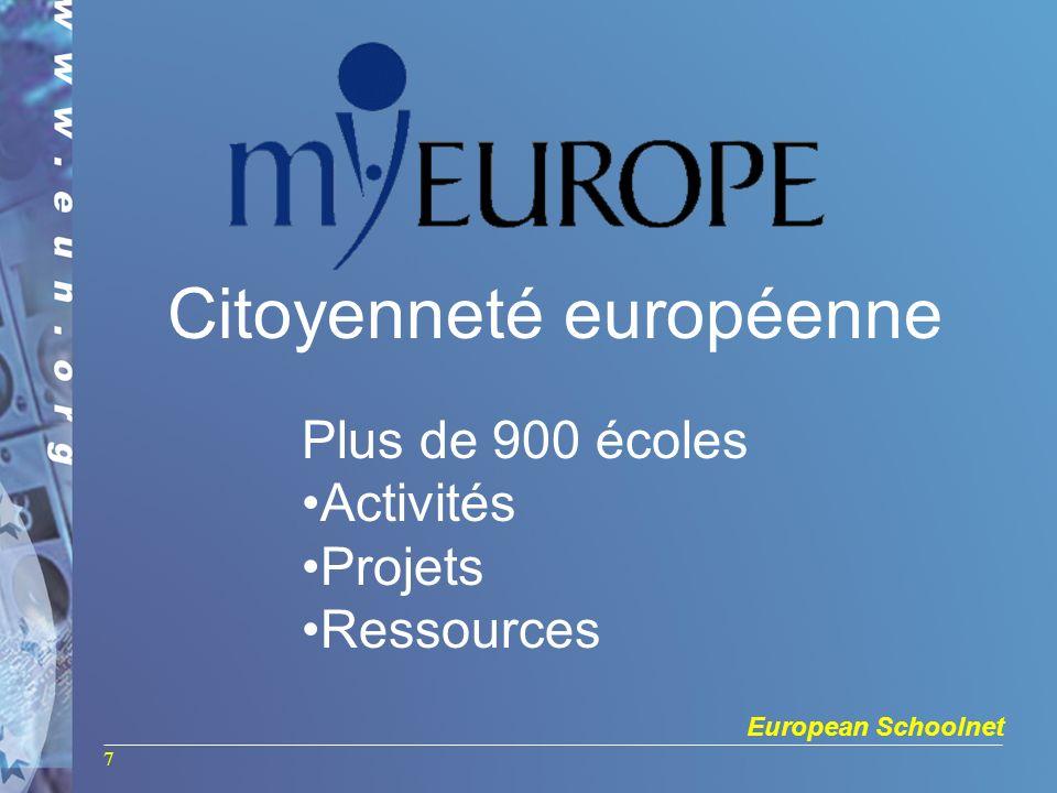 European Schoolnet 7 Plus de 900 écoles Activités Projets Ressources Citoyenneté européenne
