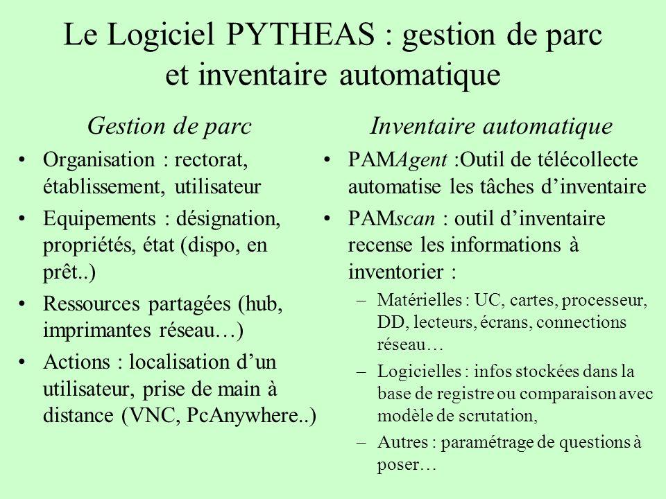 Le Logiciel PYTHEAS : gestion de parc et inventaire automatique Gestion de parc Organisation : rectorat, établissement, utilisateur Equipements : dési