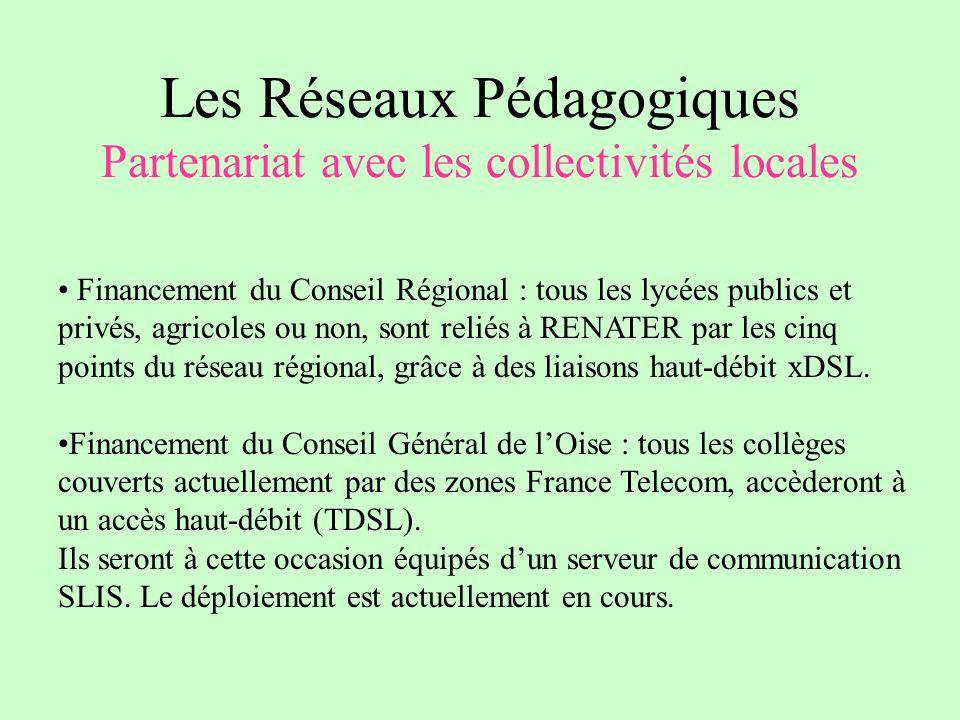 Les Réseaux Pédagogiques Partenariat avec les collectivités locales Financement du Conseil Régional : tous les lycées publics et privés, agricoles ou