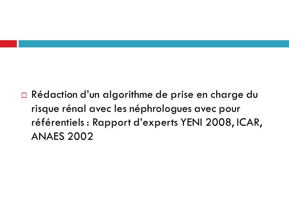 Rédaction dun algorithme de prise en charge du risque rénal avec les néphrologues avec pour référentiels : Rapport dexperts YENI 2008, ICAR, ANAES 200