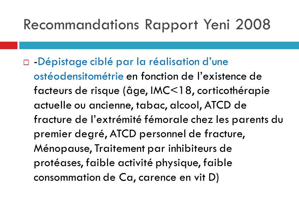 Recommandations Rapport Yeni 2008 -Dépistage ciblé par la réalisation dune ostéodensitométrie en fonction de lexistence de facteurs de risque (âge, IM