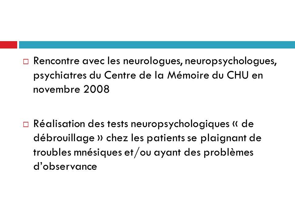 Rencontre avec les neurologues, neuropsychologues, psychiatres du Centre de la Mémoire du CHU en novembre 2008 Réalisation des tests neuropsychologiqu