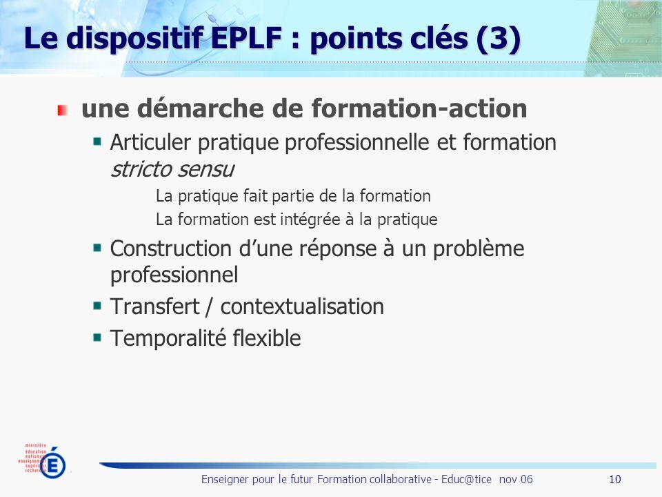 10 Enseigner pour le futur Formation collaborative - Educ@tice nov 06 Le dispositif EPLF : points clés (3) une démarche de formation-action Articuler