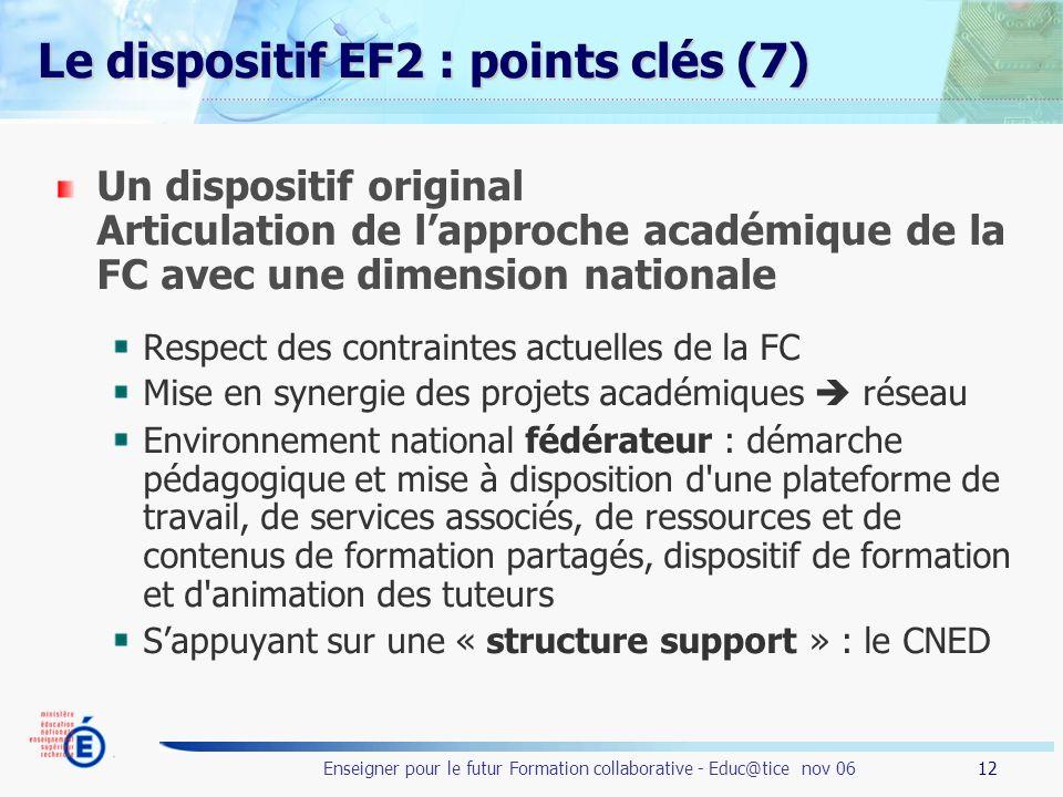12 Enseigner pour le futur Formation collaborative - Educ@tice nov 06 Le dispositif EF2 : points clés (7) Un dispositif original Articulation de lappr