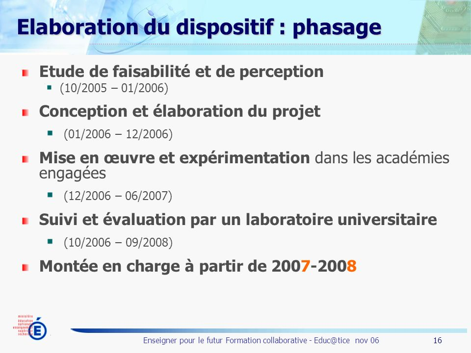 16 Enseigner pour le futur Formation collaborative - Educ@tice nov 06 Elaboration du dispositif : phasage Etude de faisabilité et de perception (10/2005 – 01/2006) Conception et élaboration du projet (01/2006 – 12/2006) Mise en œuvre et expérimentation dans les académies engagées (12/2006 – 06/2007) Suivi et évaluation par un laboratoire universitaire (10/2006 – 09/2008) Montée en charge à partir de 2007-2008