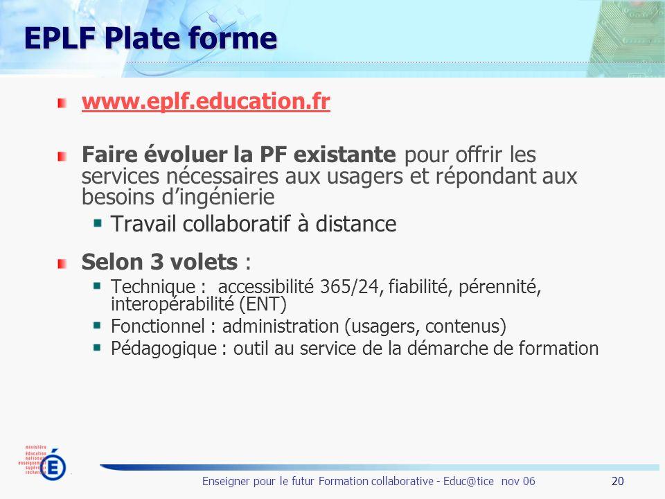 20 Enseigner pour le futur Formation collaborative - Educ@tice nov 06 EPLF Plate forme www.eplf.education.fr Faire évoluer la PF existante pour offrir