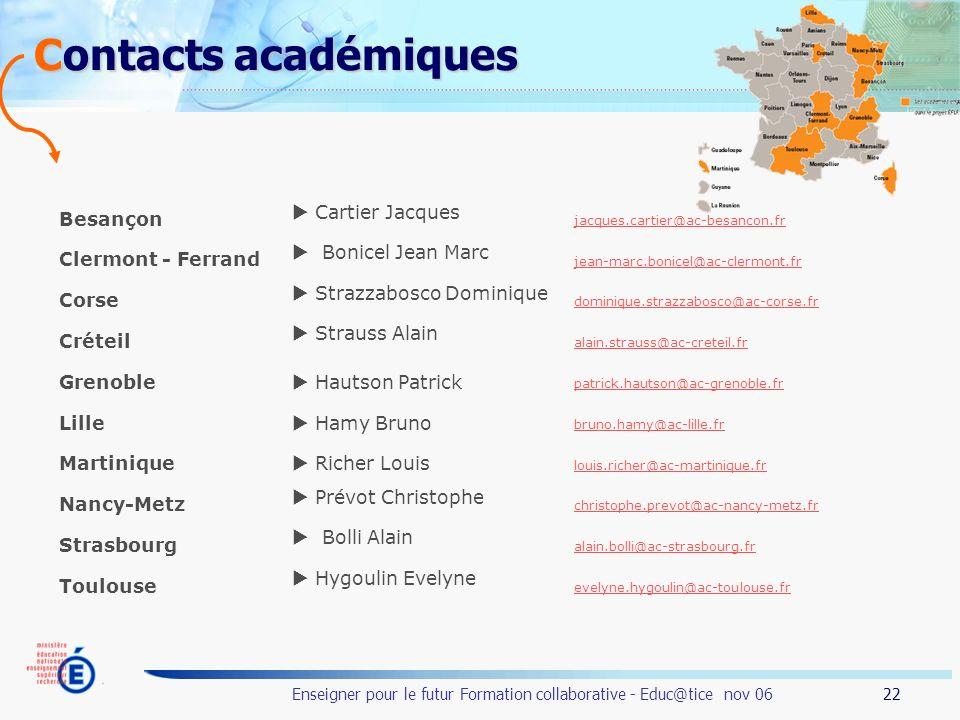 22 Enseigner pour le futur Formation collaborative - Educ@tice nov 06 Contacts académiques Besançon Cartier Jacques jacques.cartier@ac-besancon.fr Cle
