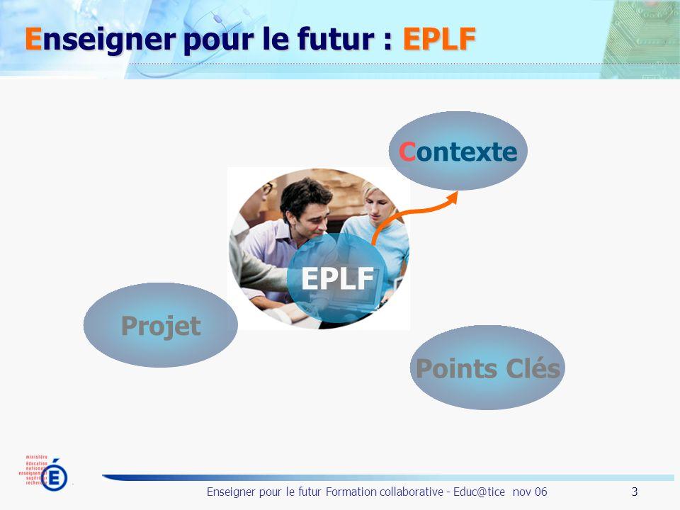3 Enseigner pour le futur Formation collaborative - Educ@tice nov 06 Enseigner pour le futur : EPLF EPLF Contexte Points Clés Projet