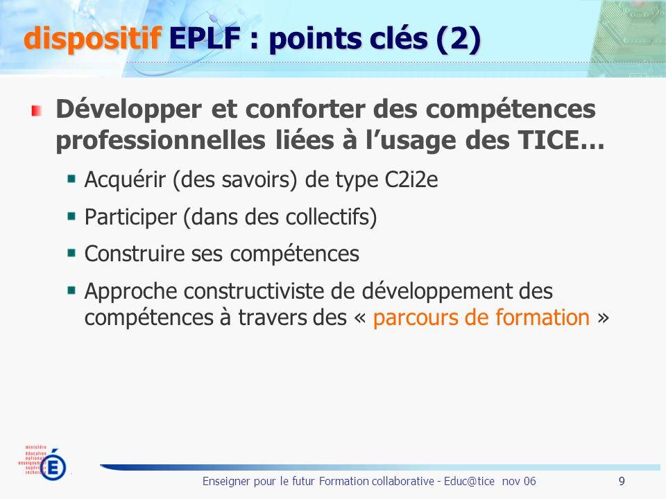 9 Enseigner pour le futur Formation collaborative - Educ@tice nov 06 dispositif EPLF : points clés (2) Développer et conforter des compétences profess