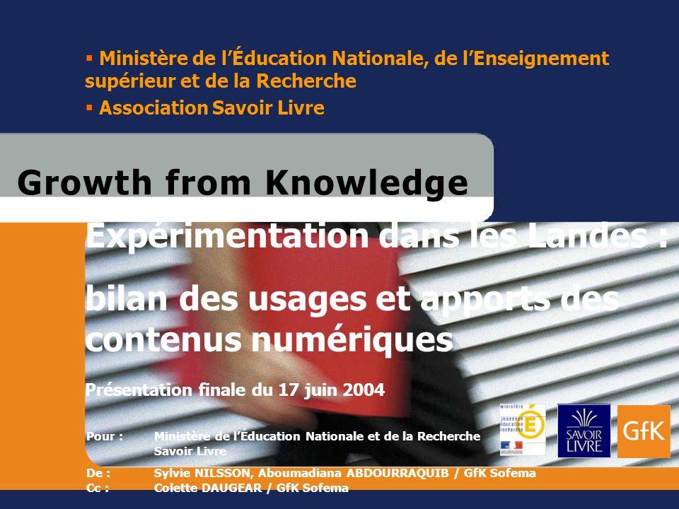 GfK SofemaAd Hoc Expérimentation dans les Landes – A. Abdourraquib / S. Nilsson © GfK 1 17 juin 2004 G r o w t h f r o m K n o w l e d g eG r o w t h