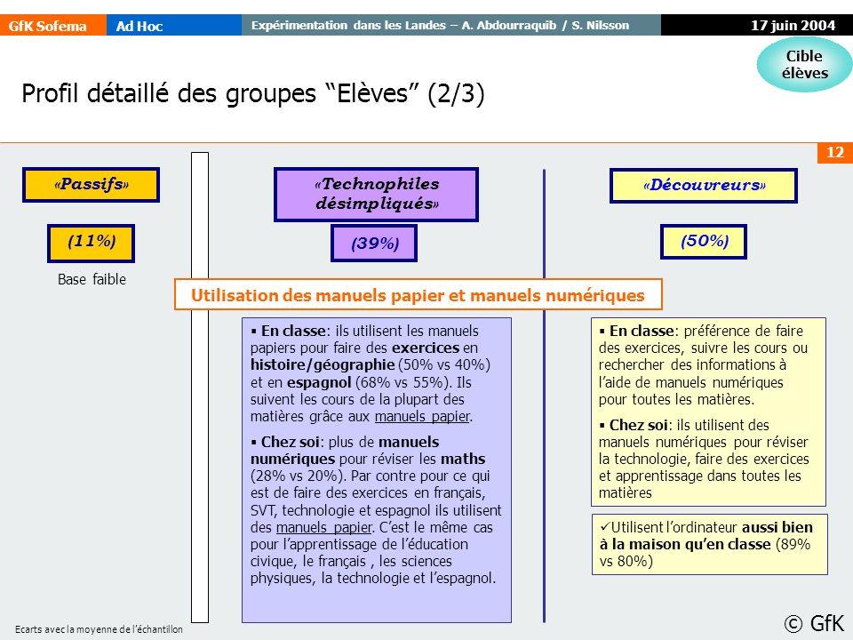 GfK SofemaAd Hoc Expérimentation dans les Landes – A. Abdourraquib / S. Nilsson © GfK 12 17 juin 2004 Profil détaillé des groupes Elèves (2/3) Cible é