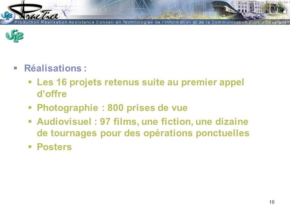 AMUE - Martine HEYDE 30 mars 2004Rénover les pratiques pédagogiques…. Réalisations : Les 16 projets retenus suite au premier appel doffre Photographie