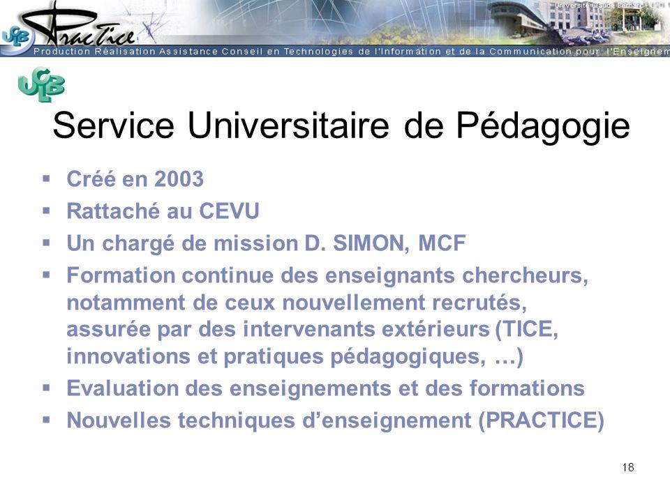 AMUE - Martine HEYDE 30 mars 2004Rénover les pratiques pédagogiques…. Service Universitaire de Pédagogie Créé en 2003 Rattaché au CEVU Un chargé de mi