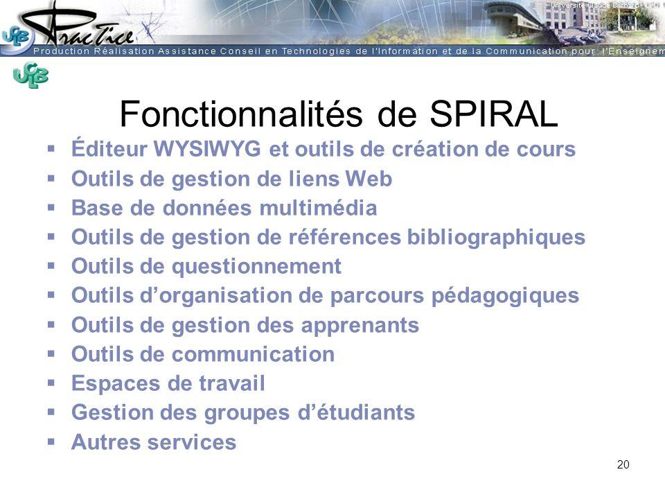 AMUE - Martine HEYDE 30 mars 2004Rénover les pratiques pédagogiques…. Fonctionnalités de SPIRAL Éditeur WYSIWYG et outils de création de cours Outils